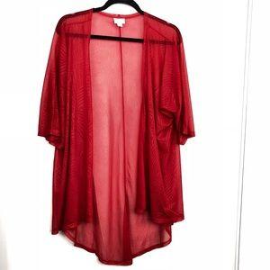 Lularoe Red Lindsay Sheer Short Sleeve Cardigan
